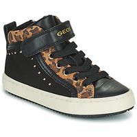 Schoenen Meisjes Hoge sneakers Geox KALISPERA Zwart / Leopard