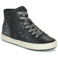 Schoenen Meisjes Hoge sneakers Geox KALISPERA Zwart / Zilver
