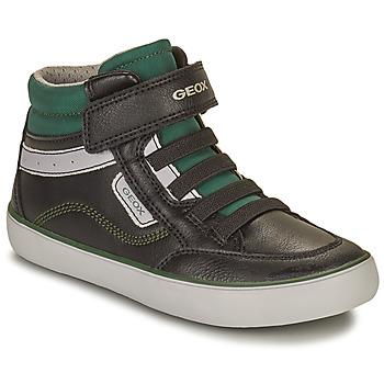 Schoenen Jongens Hoge sneakers Geox GISL Zwart / Groen