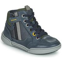Schoenen Jongens Hoge sneakers Geox POSEIDO Marine / Groen