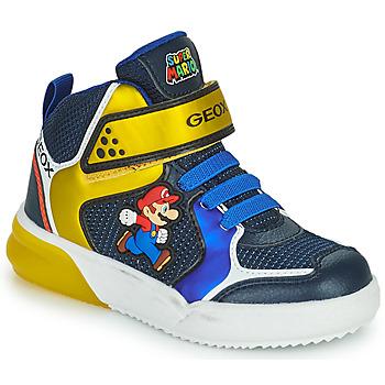 Schoenen Jongens Hoge sneakers Geox GRAYJAY Blauw / Geel