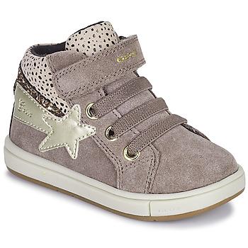 Schoenen Meisjes Hoge sneakers Geox TROTTOLA Beige