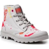 Schoenen Dames Hoge sneakers Palladium Manufacture Pampa HI Explore Vegan Rouge, Gris