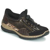 Schoenen Dames Lage sneakers Rieker ALINDA Brons / Zwart
