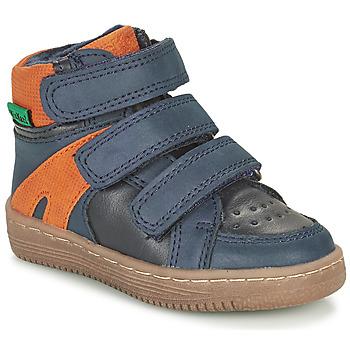 Schoenen Jongens Laarzen Kickers LOGGAN Marine / Orange