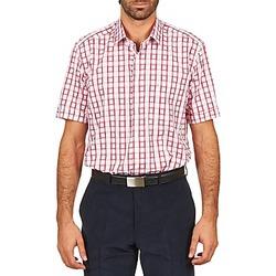 Textiel Heren Overhemden korte mouwen Pierre Cardin CH MC CARREAU GRAPHIQUE Wit / Rood