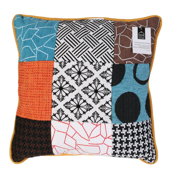 Wonen Kussens The home deco factory PATCHWORK Wit / Zwart / Orange / Turquoise / Brown