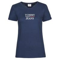 Textiel Dames T-shirts korte mouwen Tommy Jeans TJW SKINNY ESSENTIAL TOMMY T SS Marine