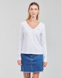 Textiel Dames T-shirts met lange mouwen Tommy Hilfiger REGULAR CLASSIC V-NK TOP LS Wit