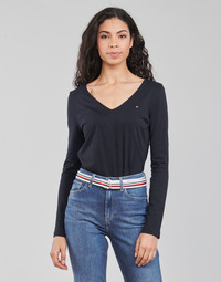 Textiel Dames T-shirts met lange mouwen Tommy Hilfiger REGULAR CLASSIC V-NK TOP LS Marine