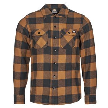 Textiel Heren Overhemden lange mouwen Dickies NEW SACRAMENTO SHIRT  camel / Zwart