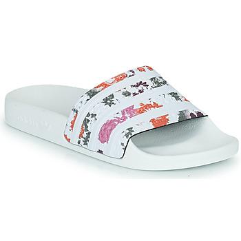 Schoenen Dames Slippers adidas Originals ADILETTE W Wit / Bloemen