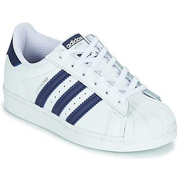 Schoenen Kinderen Lage sneakers adidas Originals SUPERSTAR C Wit / Blauw