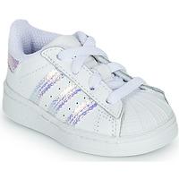 Schoenen Meisjes Lage sneakers adidas Originals SUPERSTAR EL I Wit / Iridescent