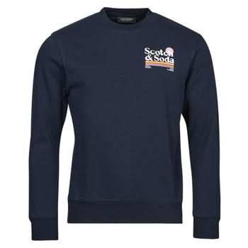 Textiel Heren Sweaters / Sweatshirts Scotch & Soda LOGO ARTWORK MELANGE FELPA Marine