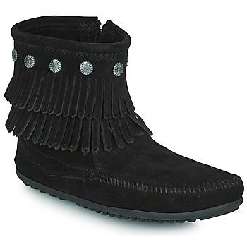 Schoenen Dames Laarzen Minnetonka DOUBLE FRINGE SIDE ZIP BOOT Zwart