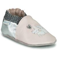 Schoenen Meisjes Babyslofjes Robeez CAT FRIENDS Roze / Zilver