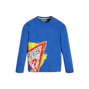 Textiel Jongens T-shirts met lange mouwen Guess LISTIN Blauw
