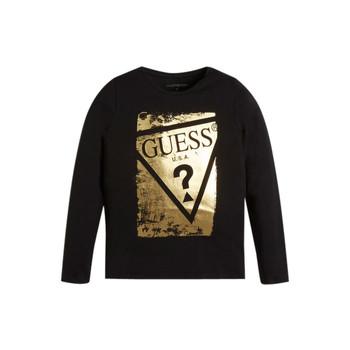 Textiel Meisjes T-shirts met lange mouwen Guess UPSET Zwart