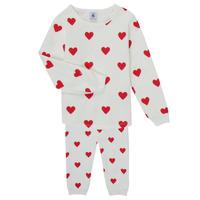 Textiel Meisjes Pyjama's / nachthemden Petit Bateau CASSANDRE Wit / Rood