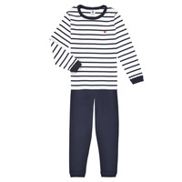 Textiel Jongens Pyjama's / nachthemden Petit Bateau TECHI Wit / Blauw