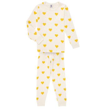 Textiel Meisjes Pyjama's / nachthemden Petit Bateau LERINU Wit / Geel