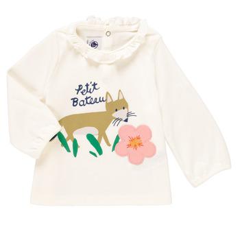Textiel Meisjes T-shirts met lange mouwen Petit Bateau ENLEVE Wit