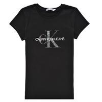 Textiel Meisjes T-shirts korte mouwen Calvin Klein Jeans VOYAT Zwart