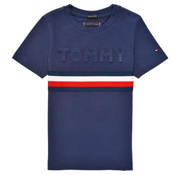 Textiel Jongens T-shirts korte mouwen Tommy Hilfiger ELEONORE Marine