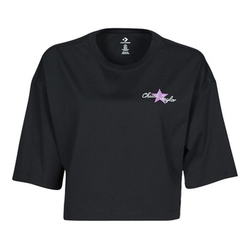 Textiel Dames T-shirts korte mouwen Converse CHUCK INSPIRED HYBRID FLOWER OVERSIZED CROPPED TEE Zwart