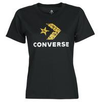 Textiel Dames T-shirts korte mouwen Converse STAR CHEVRON HYBRID FLOWER INFILL CLASSIC TEE Zwart
