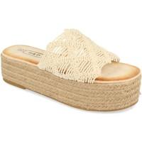 Schoenen Dames Leren slippers H&d YZ19-311 Beige