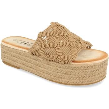Schoenen Dames Leren slippers H&d YZ19-311 Marron