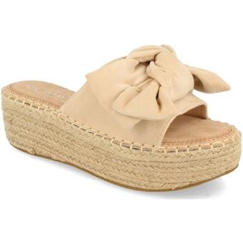 Schoenen Dames Leren slippers H&d YZ19-325 Beige