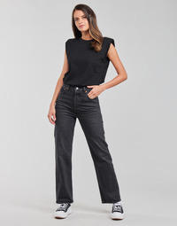 Textiel Dames Straight jeans Levi's RIBCAGE STRAIGHT ANKLE Grijs / Donker