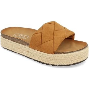 Schoenen Dames Leren slippers H&d YT32 Camel