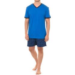 Textiel Heren Pyjama's / nachthemden J And J Brothers Pyjama à manches courtes J&J Brothers Blauw