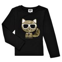 Textiel Meisjes T-shirts met lange mouwen Karl Lagerfeld AMETHYSTE Zwart