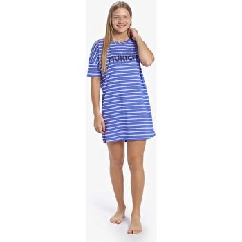 Textiel Dames Pyjama's / nachthemden Munich Chemise de nuit décontractée à manches courtes Blauw