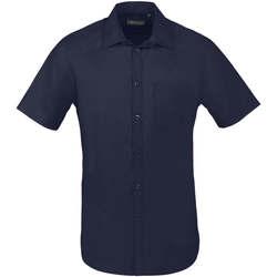 Textiel Heren Overhemden korte mouwen Sols BRISTOL FIT Azul Oscuro Azul