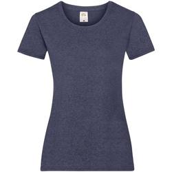 Textiel Dames T-shirts korte mouwen Fruit Of The Loom 61372 Vintage Heide Navy