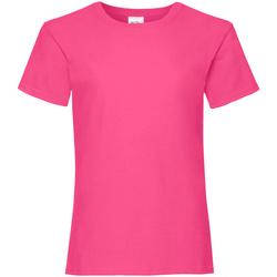 Textiel Meisjes T-shirts korte mouwen Fruit Of The Loom 61005 Fuchsia