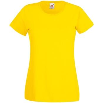 Textiel Dames T-shirts korte mouwen Fruit Of The Loom 61372 Geel
