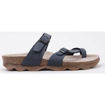 Schoenen Dames Leren slippers Senses & Shoes  Zwart