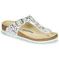 Schoenen Meisjes Slippers Birkenstock GIZEH Wit / Multicolour