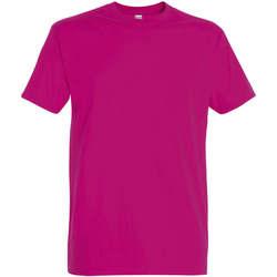 Textiel Dames T-shirts korte mouwen Sols IMPERIAL camiseta color Fucsia Otros
