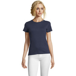 Textiel Dames T-shirts korte mouwen Sols Camiseta IMPERIAL FIT color French Marino Azul