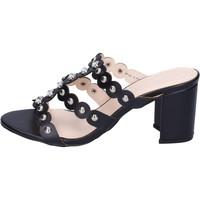Schoenen Dames Leren slippers Silvian Heach BH155 Noir
