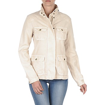 Textiel Dames Wind jackets Gant COTTON LINEN 4PKT JACKET Crã¨me