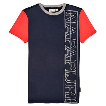 Textiel Jongens T-shirts korte mouwen Napapijri SAOBAB Marine / Rood